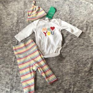 New H&M baby newborn outfit set hat shirt pants